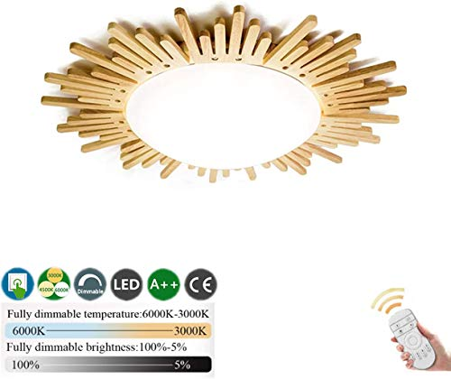 CRJ Holz Deckenleuchte LED Dimmbar Mit Fernbedienung Deckenbeleuchtung Wohnzimmer Deckenlampe Schlafzimmer Decke Licht Kreatives Sonnendesign Acryl Holzlampe Runden Lampenschirm Ultra Dünn,65cm