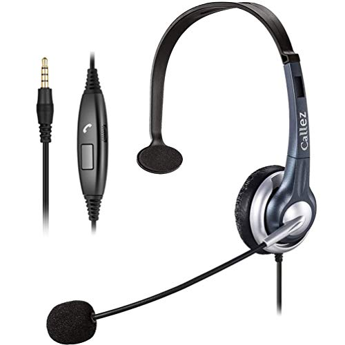 Callez C300E1 3.5mm Cell Phone Headset Mono, Truck Driver Headsets with Noise Canceling Mic, Compatible with iPhone Samsung Huawei HTC LG BlackBerry Mobile Phone Smartphones iPad iPod Skype PC