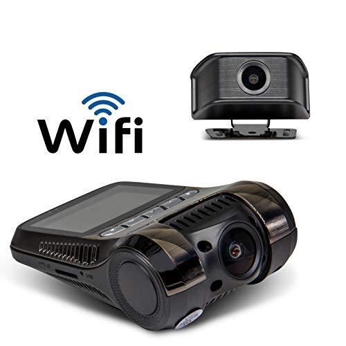 Yakola Y9 Wifi DashCam Rückfahrkamera,Dual mini Autokamera, Ultra 4K FHD 2160P Frontkamera,1080P FHD Rückfahrkamera, 24H Parkmonitor,Bewegungserkennung, IR Nachtsicht,,G-Sensor, Loop Aufnahme