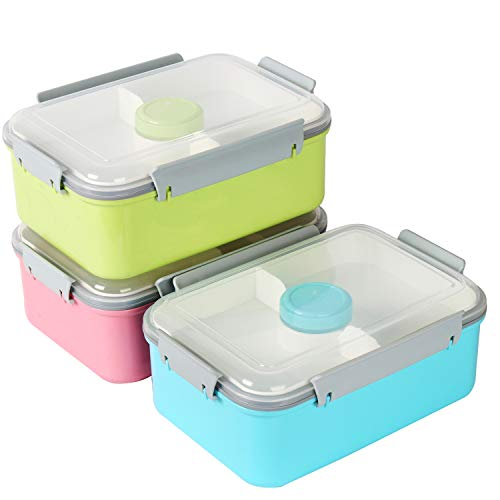 shopwithgreen Lunchbox- Salatbehälter Mit abnehmbarem Essenbox Fach und Deckel Aufbewahrungsbehälter Bento Box für Mittagessen, Snacks, Schule und Arbeit, Picknick Mikrowelle & Geschirrspülersicher