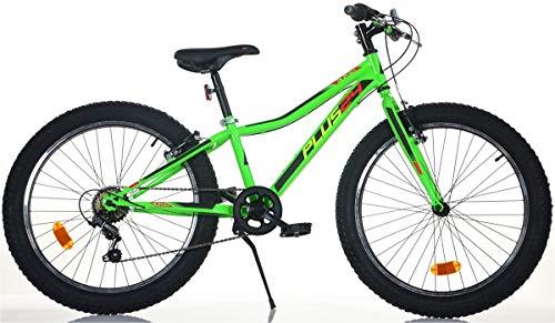 Cicli Puzone Bici Bicicletta 24 MTB Dino Bikes Bambino Shimano 6V Ruote Plus 424 UP Verde Fluo New