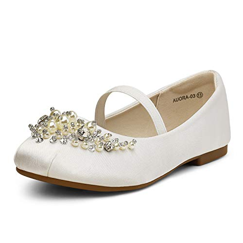 DREAM PAIRS Little Kid Aurora-03 White Girl's Mary Jane First Communion Flat Shoes Size 12 M US Little Kid
