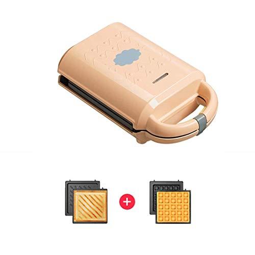 Mini 2-en-1 Sandwich tostadora, waflera, Toastie Maker con placas desmontables antiadherentes, fresca Mango Touch 460W, Beige 1125 (Color: Rosa) WTZ012 (Color : Pink)