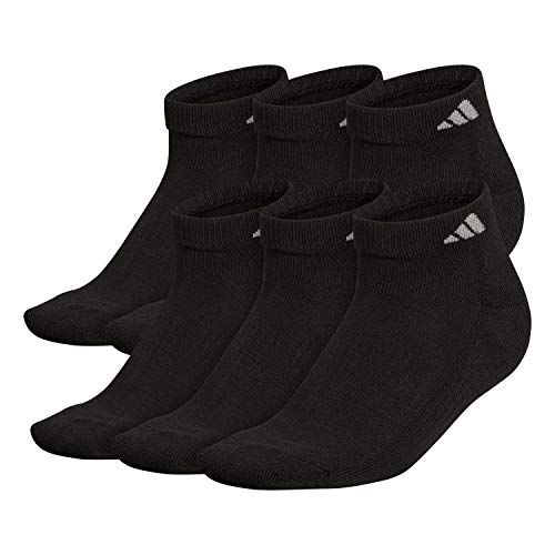 adidas Men's Athletic Cushioned Low Cut Socks (6-Pair), Black/Aluminum 2, Large, (Shoe Size 6-12)