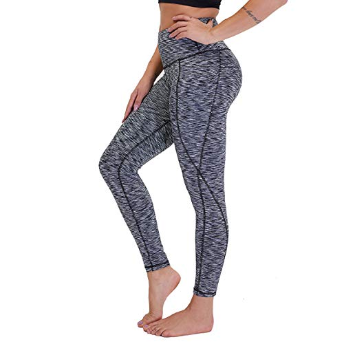 High Waist Yoga Pants with Pockets for Women - Tummy Control Workout Running 4 Way Stretch Yoga Leggings (Black Gray, X-Large)