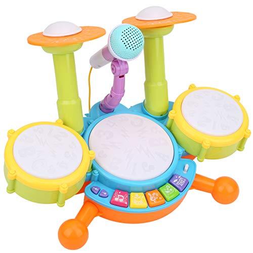 banapo Sicherer hochwertiger Kunststoff Verschiedene Funktionen Schlagzeugspielzeug, reibungslos elektronisches Schlagzeugspielzeug, hohe Qualität für Kinder Kinder(Yellow)