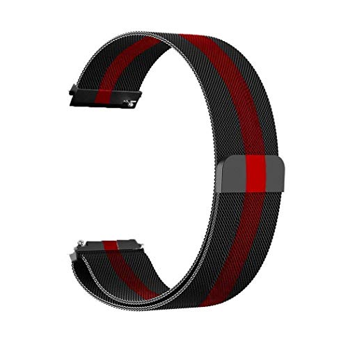 GetTechGo Magnetic Milanese 20mm Strap Compatible with Samsung Galaxy Watch 3 41mm,Galaxy 42mm,Active,Active 2/AmazeFit BIP,Lite,GTS,GTR(42mm)/RealMe Classic,Fashion & watches with 20mm Lugs-Black Red