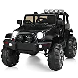Costzon Ride On Truck, 12V Battery Powered Electric Ride On Car w/ 2.4 GHZ Parental Remote Control, LED Lights, Double Open Doors, Safety Belt, Music, MP3, Spring Suspension (Deluxe Black)