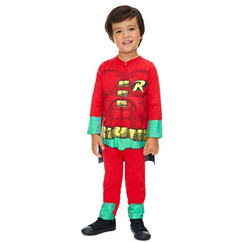 Warner Bros. DC Comics Mono y Capa de Robin de Liga de la Justicia con Cierre de Cremallera - Elegante Conjunto de Disfraz para Niño (6-7 Años)
