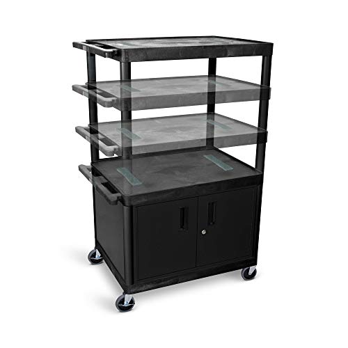Luxor Multi-Height AV Cart - 3 Shelves, Cabinet