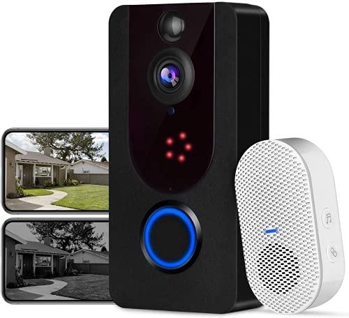 Bextgoo - Videoportero inalámbrico con cámara de 1080P, resolución FHD, visión nocturna clara, almacenamiento de vídeo gratuito, detección de movimiento PIR