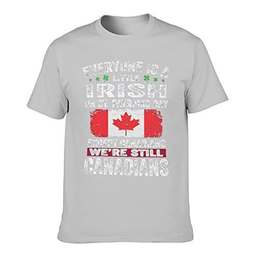 Camiseta de manga corta para hombre con diseo de texto en alemn 'Jeder ist ein wenig Irish Auser Canadian' Gris plateado. XXL