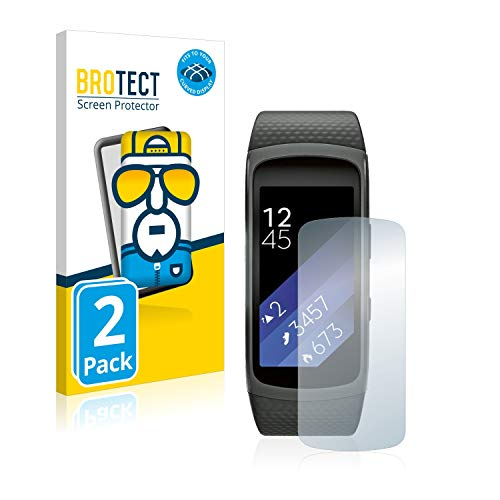 BROTECT Full-Cover Schutzfolie kompatibel mit Samsung Gear Fit 2 (2 Stück) - Full-Screen Bildschirmschutz-Folie, 3D Curved, Kristall-Klar