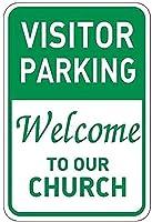 2個 ビジターパーキング私たちの教会へようこそブリキサインメタルプレート装飾サイン家の装飾プラークサイン地下鉄メタルプレート8x12インチ メタルプレートブリキ 看板 2枚セットアンティークレトロ