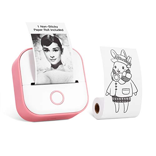 Memoking T02 Stampante Termica Tascabile - Stampante Portatile Wireless Bluetooth Compatta, in Bianco e nero per Appunti di Studio Regalo, Compatibile con iOS e Android, Rosa