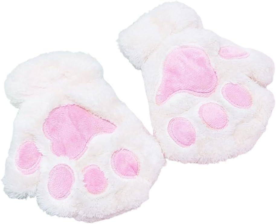 WBDL Women Winter Warm Half Finger Gloves Cute Cartoon Cat Paw Embroidery Anime Kitten Thicken Fuzzy Plush Fingerless Mittens (Color : White)