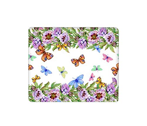 Mouse Pad Rectangular Mouse Mat Cute Mouse Pad with Design Non Slip Rubber Base Mousepad with Stitched Peony Flowers Bright Butterflies