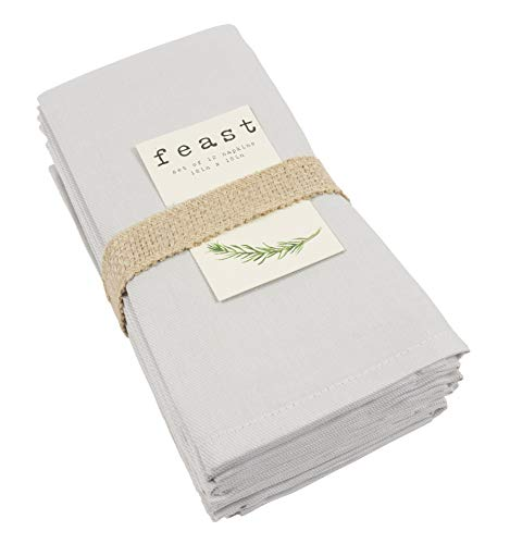 KAF Home Feast Dinner Napkins | Set of 12 Oversized, Easy-Care, Cloth Napkins (18 x 18 Inches) - Gray