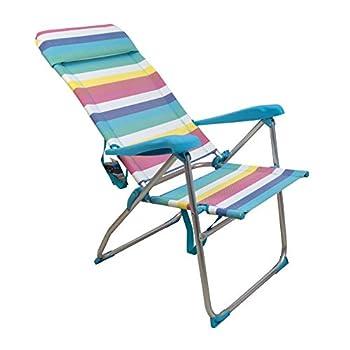 ARCOIRIS Chaise De Plage, Lit 4 Positions avec Poche Arrière avec Poignées Et Tête Réglable en Hauteur (1 Unidad, Multi Color)