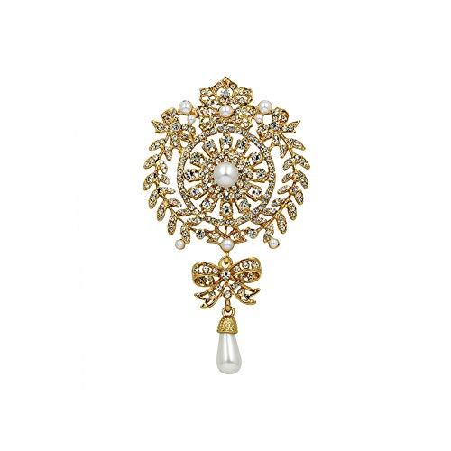 Brosche in Tropfenform, verschiedene Farben, Vintage-Stil, Glaskristalle, für DIY Hochzeit, Brautsträuße, Schmuck, Zubehör, 7208 Gold