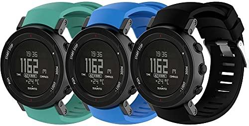 Gransho Uhrenarmband kompatibel mit Suunto Core ALU Black, Premium Weiches Silikon Verstellbarer Ersatzgurt (3-Pack I)