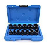 Gunpla 13 Pieces Impact Bolt and Nut Remover Set, CR-V Quality, Nut Extractor Socket Set, Locking Wheel Twist Damaged Rounded Worn Stripped Fastener Sockets with Molded Embossed Case