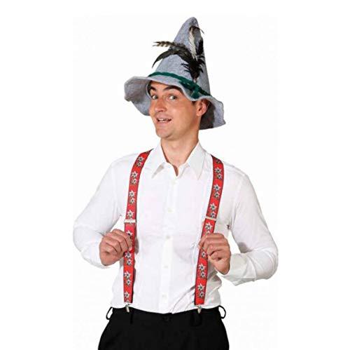 Hosenträger Edelweiß Rot blumen oktoberfest fest schlager braces bretelle