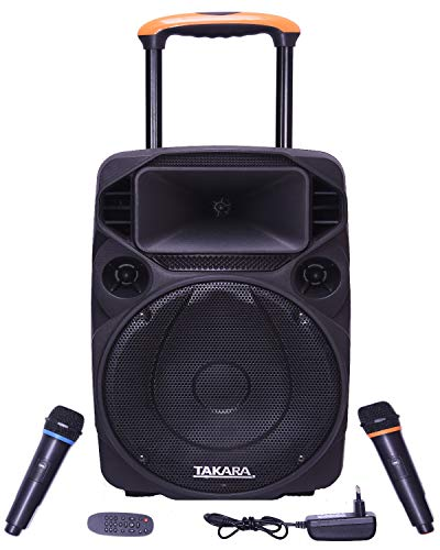 TAKARA T-1112 Portable Trolley Speaker 12 Inch Multimedia BT, Karaoke with Audio Recording, USB, SD,FM PA System with 2 Wireless Mic.
