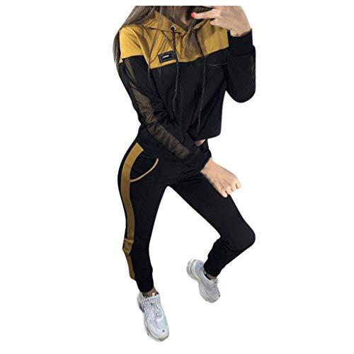 WFRAU Frauen 2 Stücke Einfarbig Trainingsanzüge Mädchen Mit Kapuze Langarm Jumper Tops + Slim Fit Yoga Hosen Damen Outdoor Sportbekleidung Freizeit Lounge Wear Anzug Sportanzug Jogging Hose
