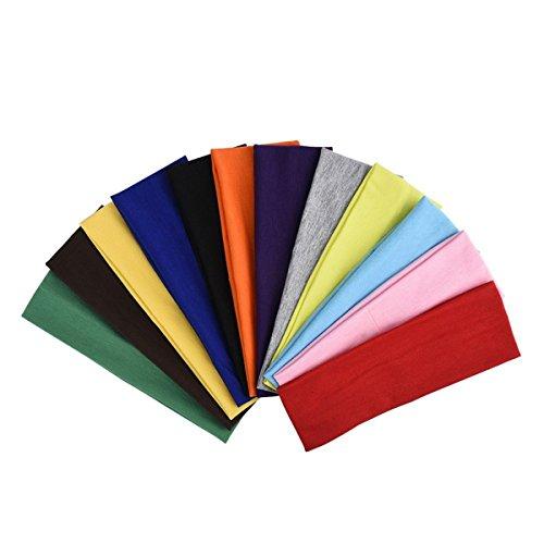 Frcolor 12Pcs Stretch Elastic Yoga Cotton Headbands sports Coton Bandeaux pour Ados Femmes et Femmes Hommes (Couleurs Mixtes)