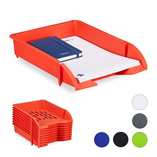 Relaxdays Portadocumenti a Incastro, per Fogli in Formato A4, Ufficio, Set 10 Contenitori di Plastica, Rosso, HxLxP: 7 x 25 x 34 cm