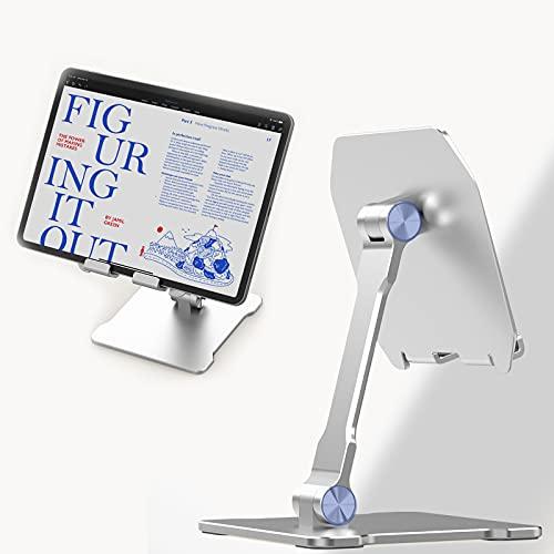 MotuTech - Soporte universal para tablet de escritorio ajustable con doble eje plegable, base pesada estable para tablet de 12,9' 11' 10,9' 10,2' 9,7' para iPad Pro Air Mini