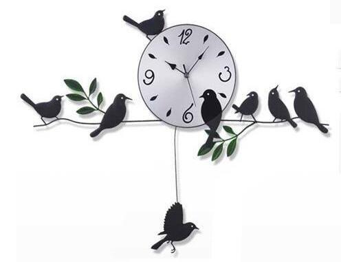 QMMCK G'Z Wandklok Super-Sound-Uit Mode Landelijk vogeltjes Swing Wandklok voor de woonkamer slaapkamer ijzeren kunst kwarts horloges 72 * 55 cm
