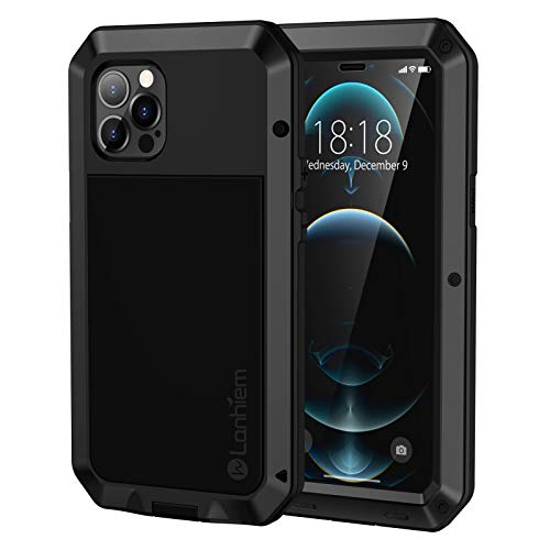 Lanhiem Case for iPhone 12 Pro Max Case Heavy Duty Shockproof Tough Armour Metal Case with [Tempered Glass Screen Film], 360 Full Body Protective Case Cover for iPhone 12 Pro Max -Black