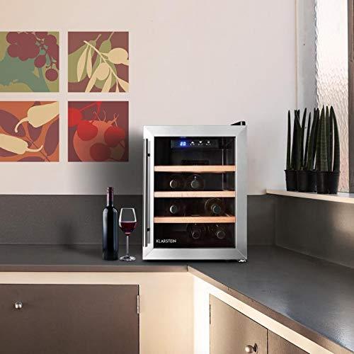 Klarstein Reserva 12 Uno 2020 Edition - Cave à vins, 33 litres,9 bouteilles, 3 étagères amovibles, Éclairage LED, Température réglable,11 à 18 °C, Porte en verre double, Noir-Argent