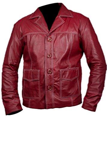 Feather Skin Club De Lucha Chaqueta De Cuero Brad Pitt En Color Rojo