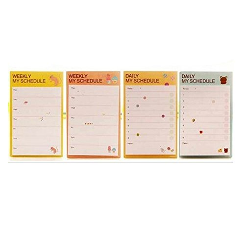 Daily Plan Schedule Sticker Cute Animals Memo Pad and Sticky Notes Stationery Office Supplies 2PC