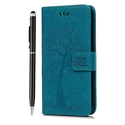 iVOYI Huawei P20 Lite Hülle Leder Flip Case Eule Baum PU Schutzhülle Handytasche Etui Schale Geldbörse Karteneinschub Ständer Klapptasche Tasche for Huawei P20 Lite, Blau