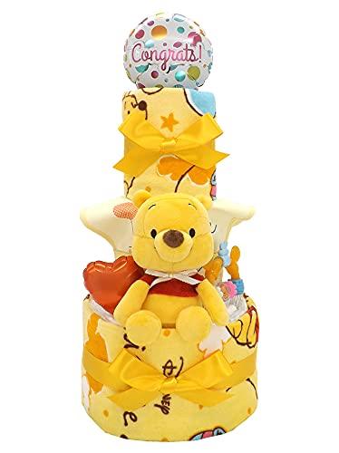 おむつケーキ ディズニー くまのプーさん タオルセット&ベビーグッズ付き 3段 A 男女兼用 ck-598a (メリーズ新生児)