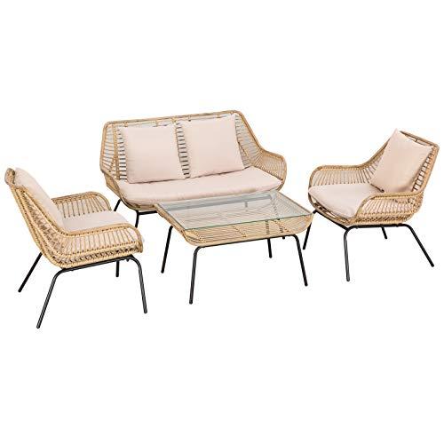 Outsunny Sitzgruppe, Outdoor Sitzgarnitur, Gartenmöbel Set mit Beistelltisch, Metall, Rattan, Beige, 118 x 69 x 73 cm