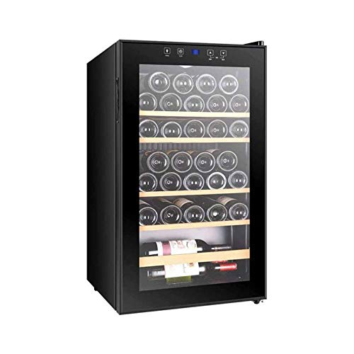 LYGACX Frigorífico de Vino refrigerador 4-18 ℃, frigorífico de Vino de 33 Botellas - Freestanding refrigerador, 7 Capas de Compartimentos de Madera, Control Digital, Puerta de Vidrio