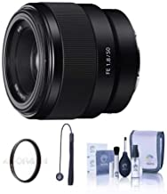 Sony FE 50mm F/1.8 Lens for E-Mount Cameras - Bundle with 49mm Uv Filter, Cleaning Kit, Capleash II