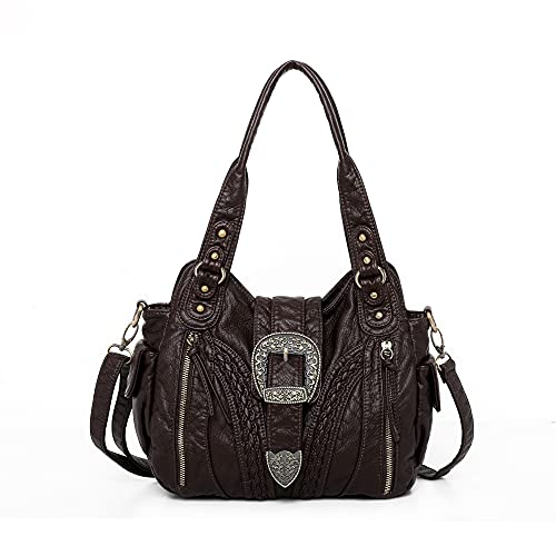 Montana West Hobo Handbags for Women Concealed Carry Purses Washed Leather Satchel Handbag Tote Shoulder Bags CW-MWC-020CF