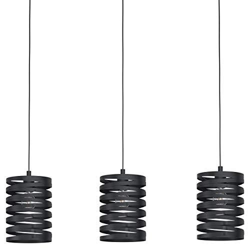 EGLO Pendelleuchte Cremella, 3 flammige Hängelampe Vintage, Industrial, Hängeleuchte aus Stahl in Schwarz, Esstischlampe, Wohnzimmerlampe hängend mit E27 Fassung, L 94 cm