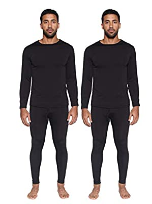 2 Pack: Mens Thermal Sets Underwear Microfiber Fleece Lined Long Johns Base Layer Top Bottom Shirt Pants Compression leggings Essentials Skiing Snow Winter Clothing -Set 5,XL