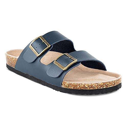 TF STAR Men's Slip On Flat Casual Cork Sandals with 2-Strap Buckle,Leather Cork Slide Arizona Sandals for Men