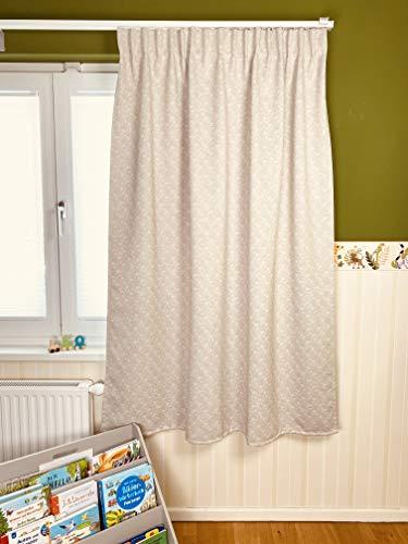 KeenBeagle® Cortina opaca | corto, 175 cm | color beige | por riel o barra de la cortina | con función de pliegue | 145 x 175 cm