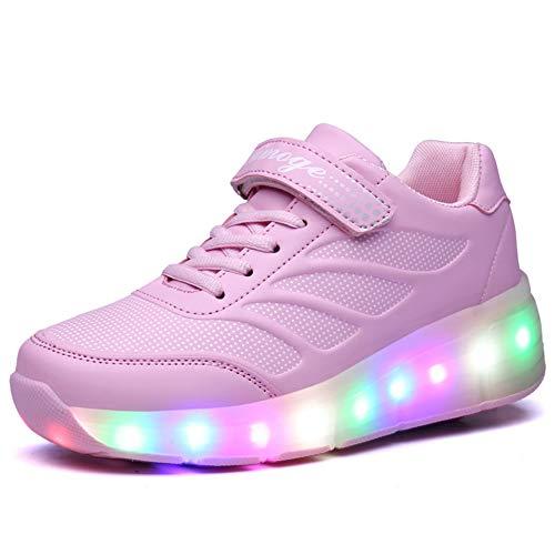 Unisex-Kinder Mode LED Rollschuh Schuhe LED Lichter Blinken Einstellbare Räder Technologie Skateboardschuhe Gymnastik Running Turnschuhe für Jungen Mädchen (33 EU, Pink-818)