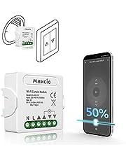 Maxcio WiFi Rolluikschakelaar, Elektrische Rolluikmodule Compatibel met Alexa en Google Home, APP Controle, Slimme Schakelaar voor Rolluiken met Timer en Percentage Functie, 300W