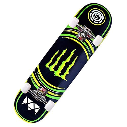 ZHBH Complete Pro 79 cm standard lönn skateboard, LED-lätta hjul, pojkar flickor nybörjarborste gatudans bräda cruiser lastlager 150 kg (blixthjul)